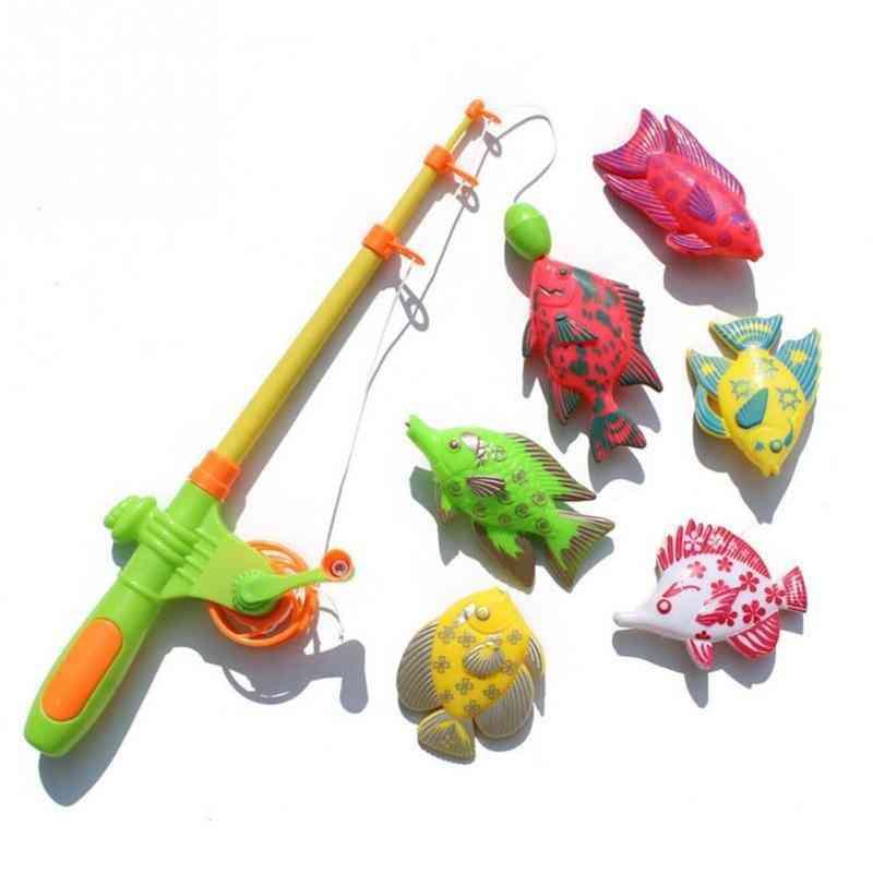 Children Fishing With Plastic Rod
