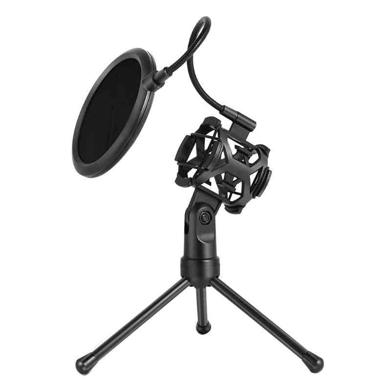 Microphone Pop Filter Holder Stick Desktop Tripod Stand