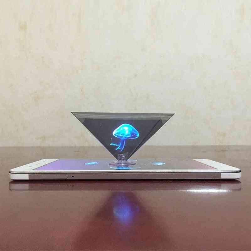 3d Hologram Pyramid Display Projector Video Stand Universal For Smart Mobile Phone (other)