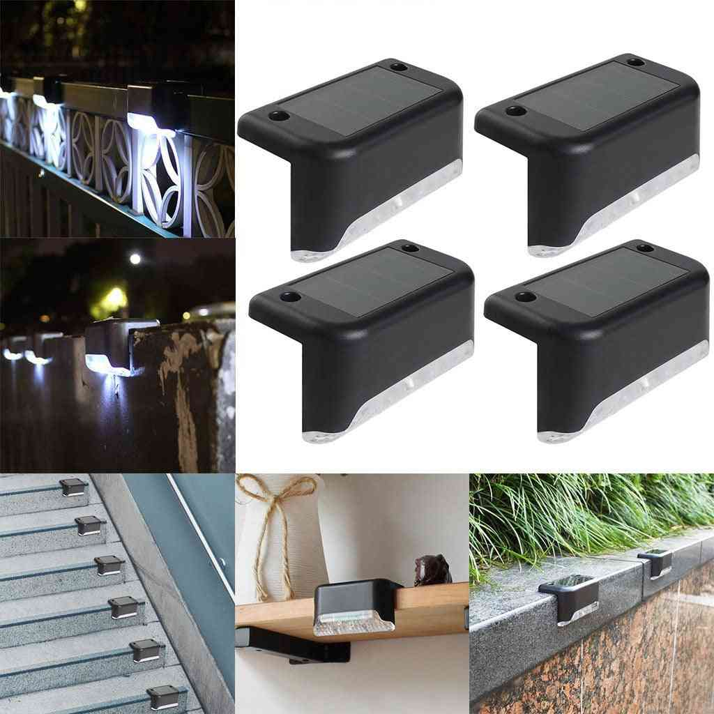 4pcs Of Led Solar Path Stair Wall Lamp, Energy-efficient For Garden, Yard Fence , Landscape ,driveway