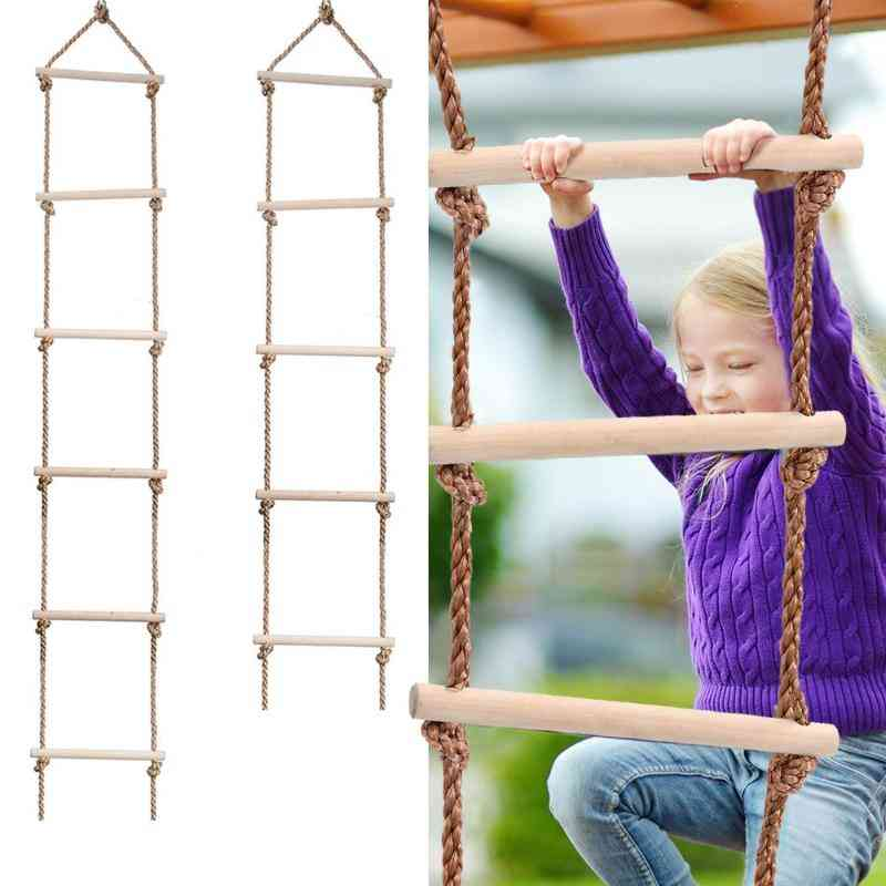 Wooden Rungs Rope Ladder - Climbing, Indoor / Outdoor Safe Fitness Equipment