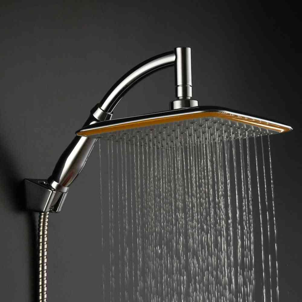 Rainfall Shower Head - Chrome Pressure Saving Holder Bathroom Set