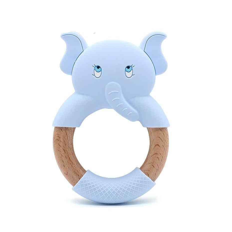 Cartoon Natural Beech Wood Elephant Sheep Teething Wooden Ring