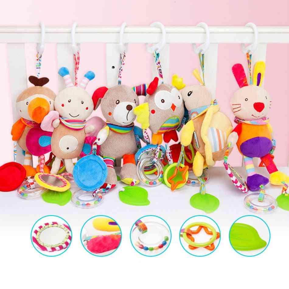 Soft Plush Crib Stroller Baby,  Bed Stroller Cartoon Animal Hanging Rattle Doll Educational Toy