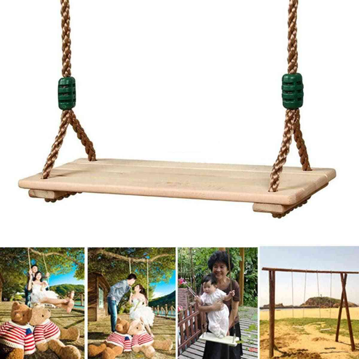 Wooden Garden Swing Seat For Adults And Children With Rope