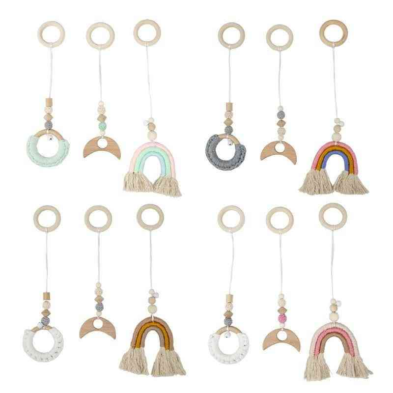 Baby Gym Frame Pendants Wooden Clothes Rack - Rainbow Hanging Play For Room Decoration