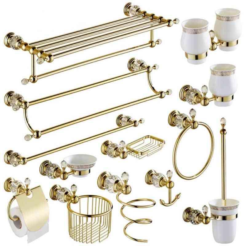 Towel Rack - Bathroom Hooks Hardware Brass And Shower Basket Accessories