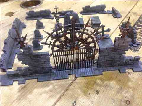 Wooden Miniature Gothic Style Ruins Cemetery