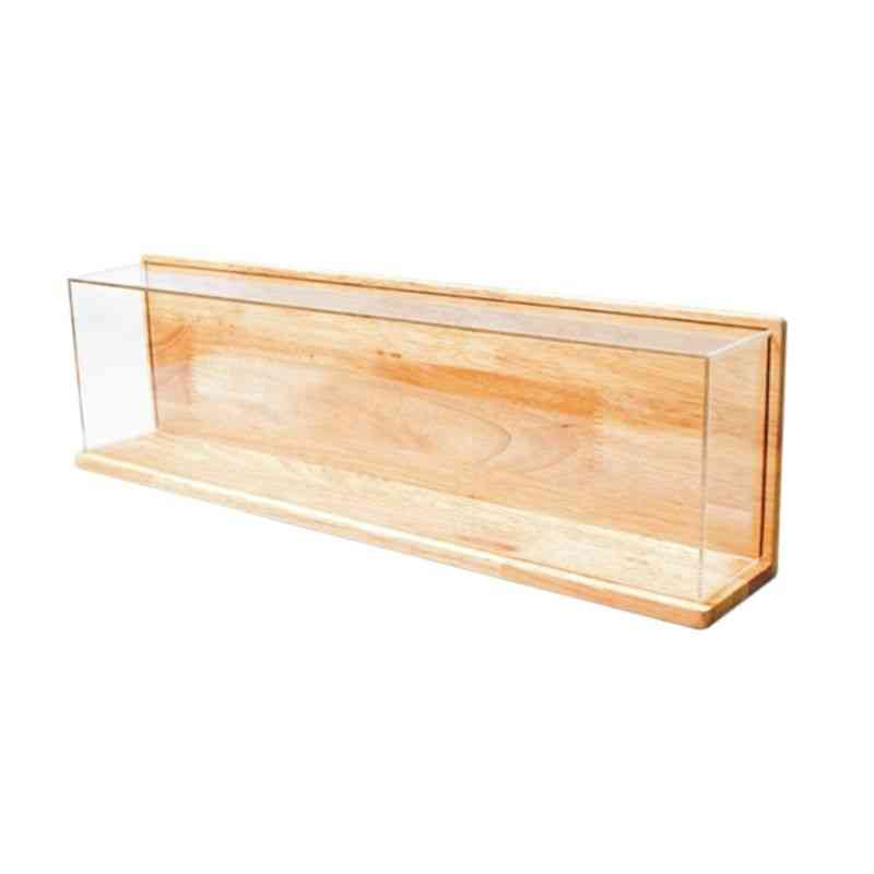 Clear Acrylic Showcase With Wooden Base For Action Figures, Model Toy