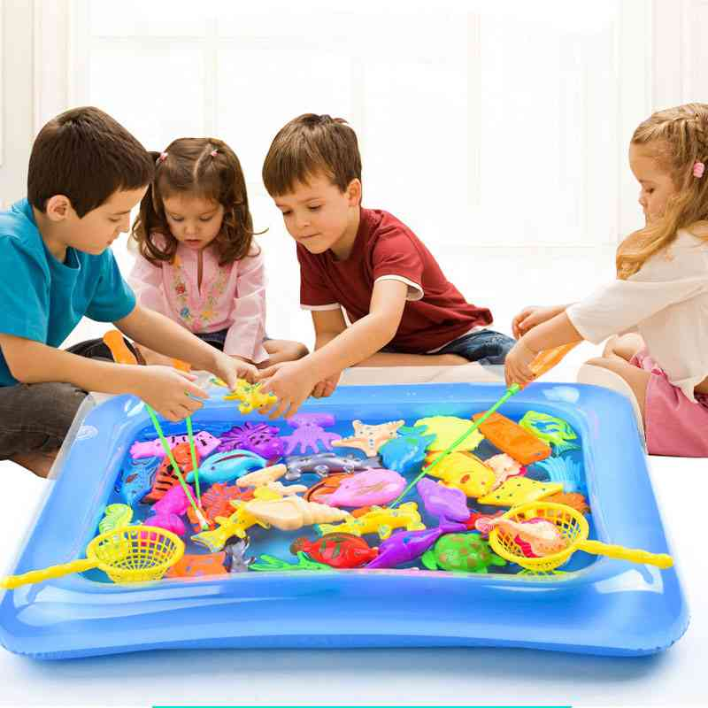 Magnetic Fishing Toy With Inflatable Pool Rod Net Set