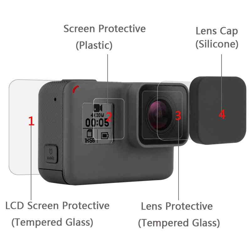 Tempered Glass Protector Cover Case For Go Pro Hero 5/6/7, Camera Lens Cap Lcd Screen Protective Film
