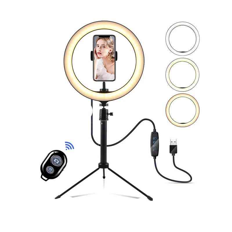 Dimmable Led Selfie Ring, Light With Tripod