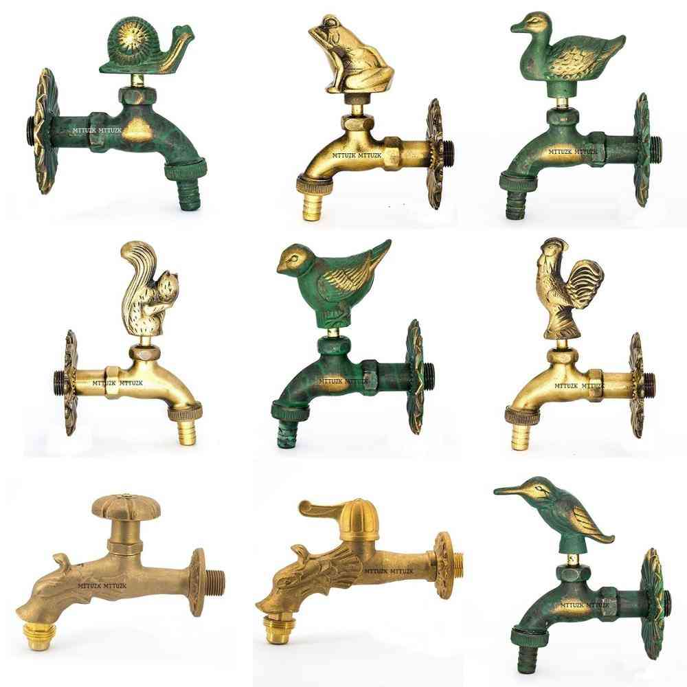 Outdoor Decorative Garden Faucet Animal Shape Bibcock Antique Brass Tap