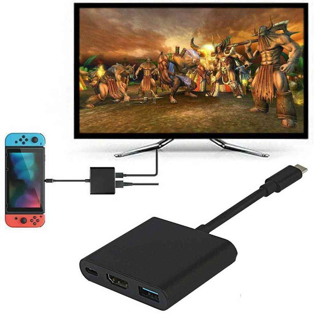 4k Hdmi Adapter For Switch, Type C Usb To Hdmi Converter Dock Cable (black)