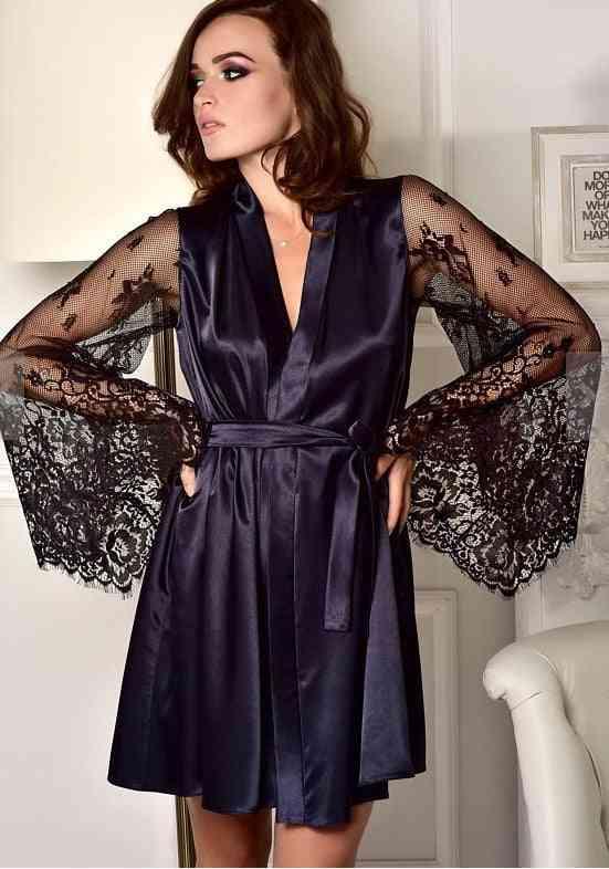 Women Sexy Lingerie-elegant Long Sleeve, Flower Lace Bathrobe -nightgown