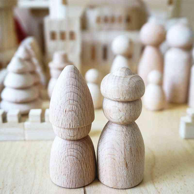 Children Log Dolls - Wooden Figurines For Building Blocks