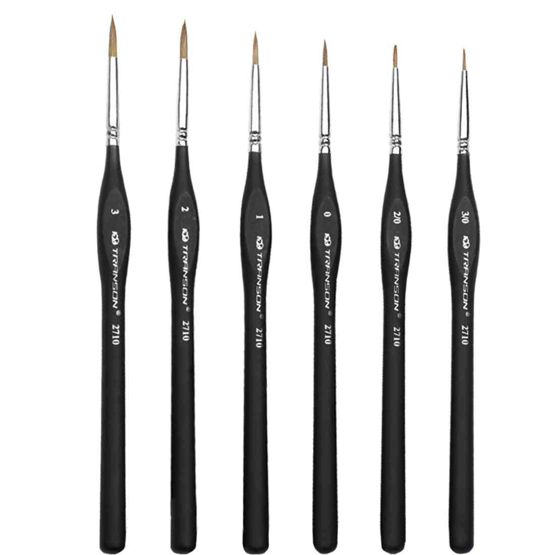 Wolf Hair Miniature Paint Brushes Set For Fine Detailing & Rock Painting