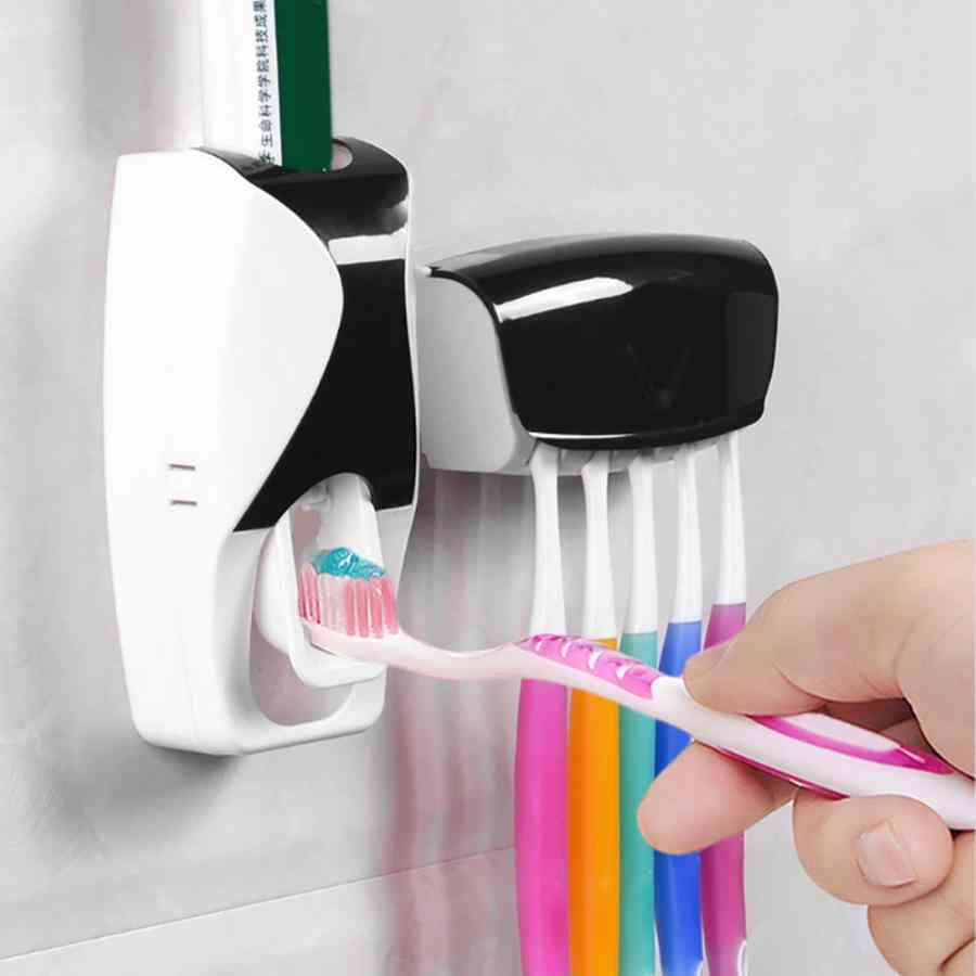 Automatic Toothpaste Dispenser & Wall Mounted Toothbrush Holder Set Rack