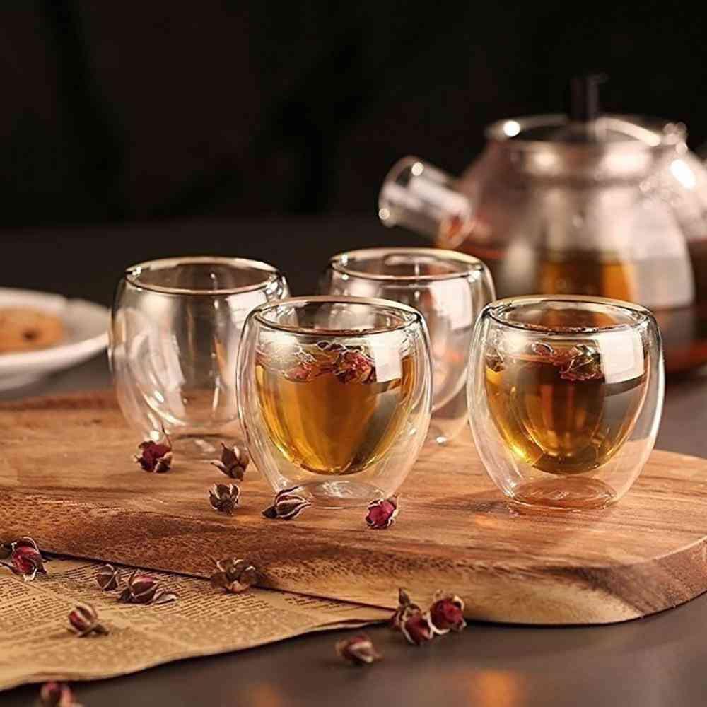 Double Walled Heat Insulated Glass Tumbler Espresso Tea Cup/coffee Mug