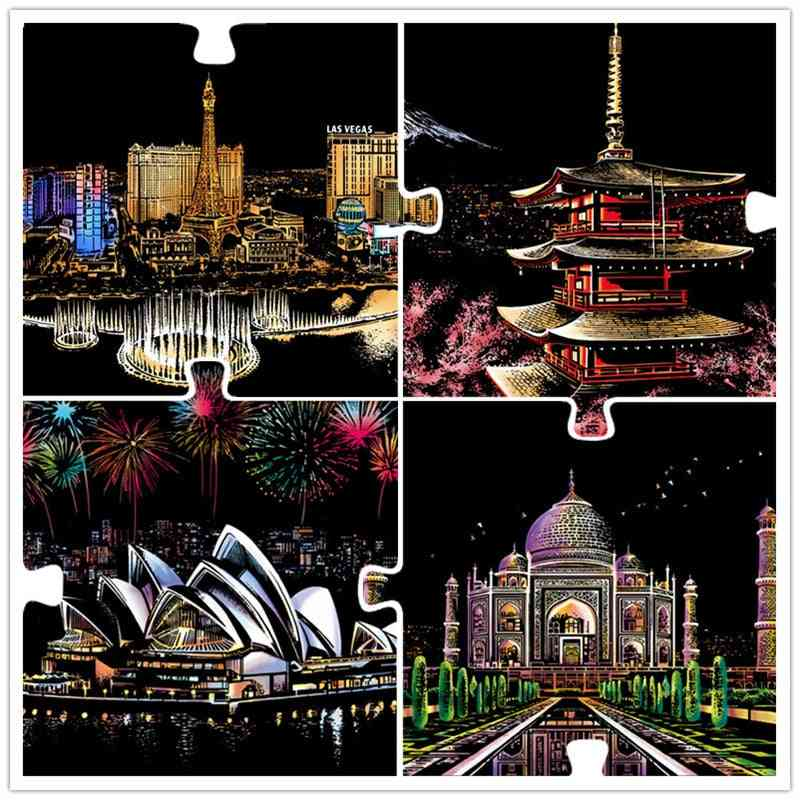 World Landscape Magic Scratch Crafts Scraping Art Paintings Papers