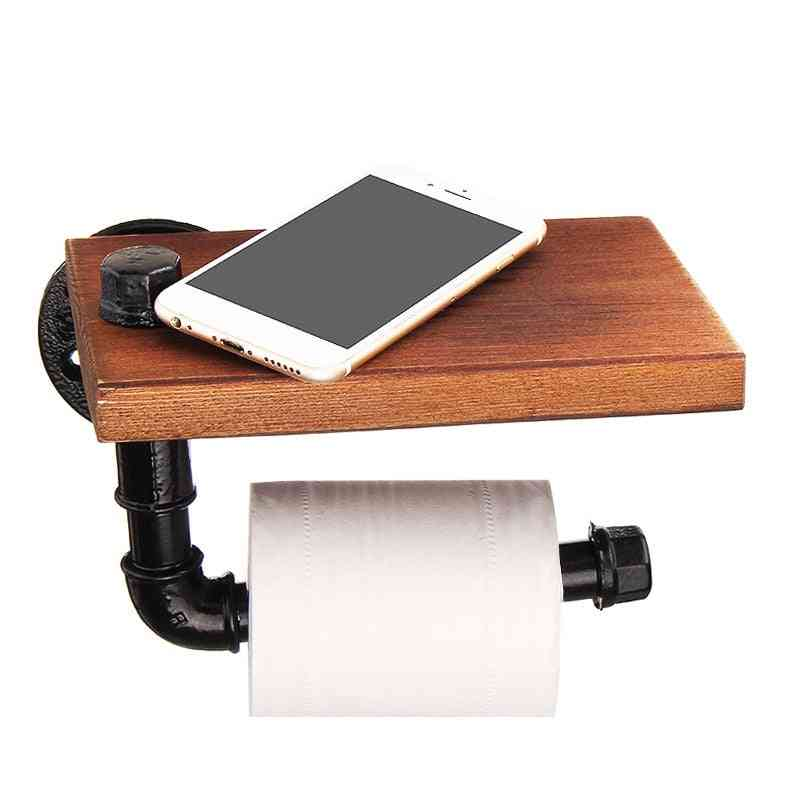 Industrial Retro Iron Toilet Roll Paper-towel Holder With Wooden Shelf