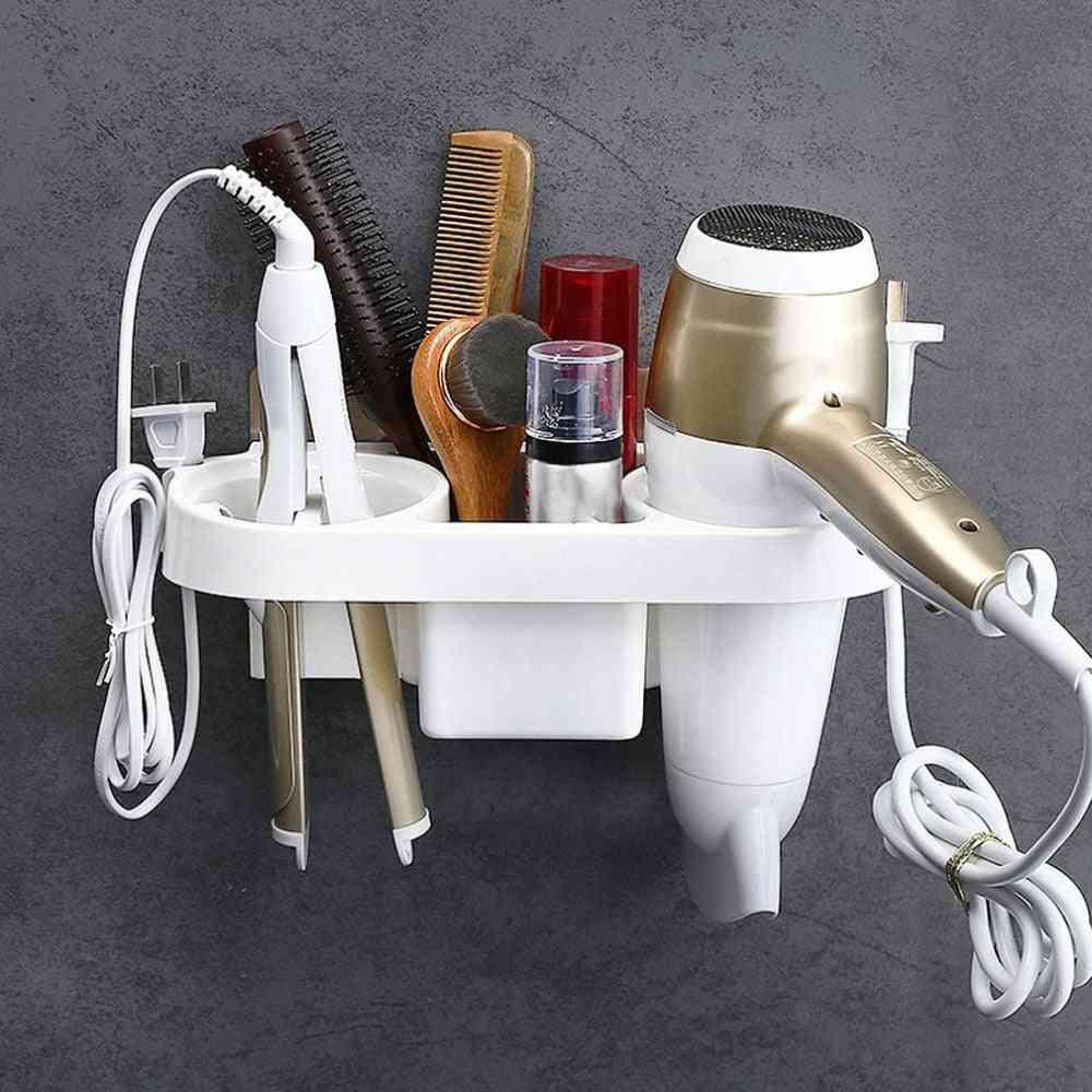 Multi-purpose, Self-adhesive, All Mounted Plastic Hair Dryer Holder