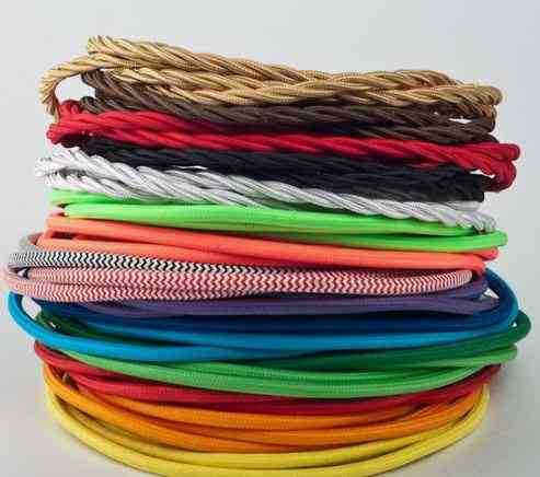 Core Round Textile Electrical Wire Fabric Cable - Flexible Vintage Lamp Power Cord