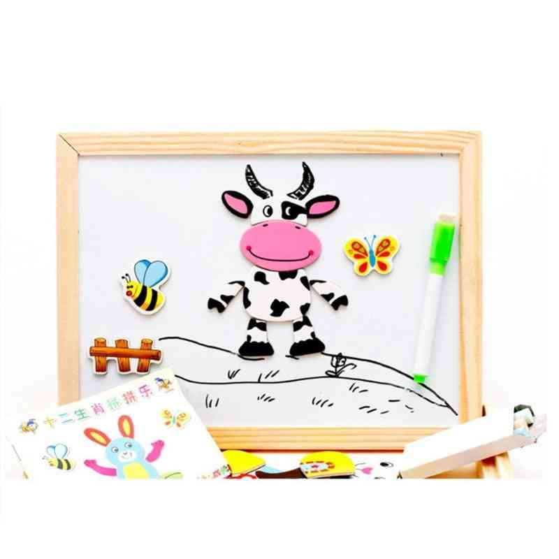 Wooden Double Side Baby Sorting/nesting/stacking/drawing/writing Board - Magnetic Puzzle Game Set