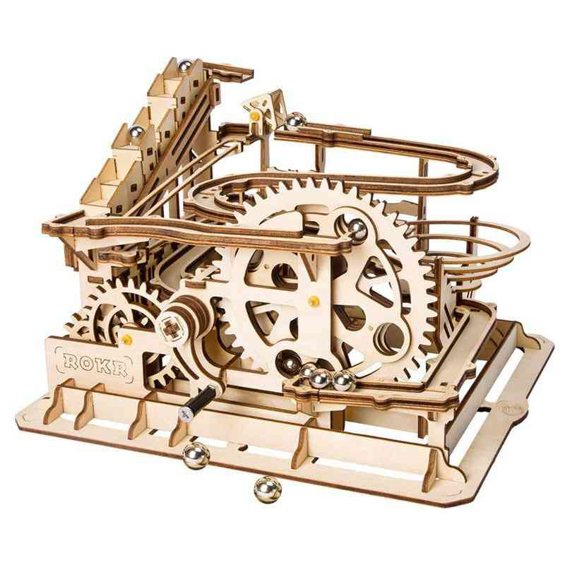 Marble Run Game - Diy Waterwheel Wooden Model Building Block Kit, Assembly Toy For Kids