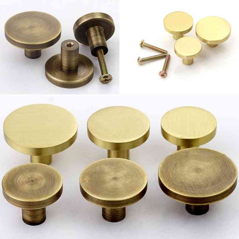 1x Brass Drawer Knobs- Round Furniture Handle Pull