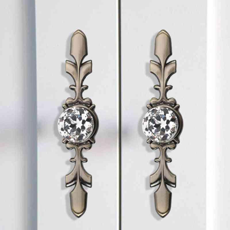 Zinc Alloy Glass Door, Pull Transparent Crystal Handle Knoobs