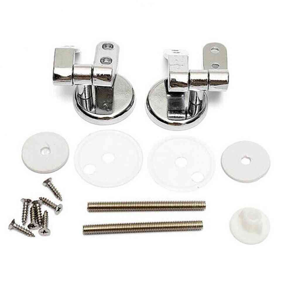 Pair Of Chrome Finished-replacement Hinges For Toilet Seats Including Fittings