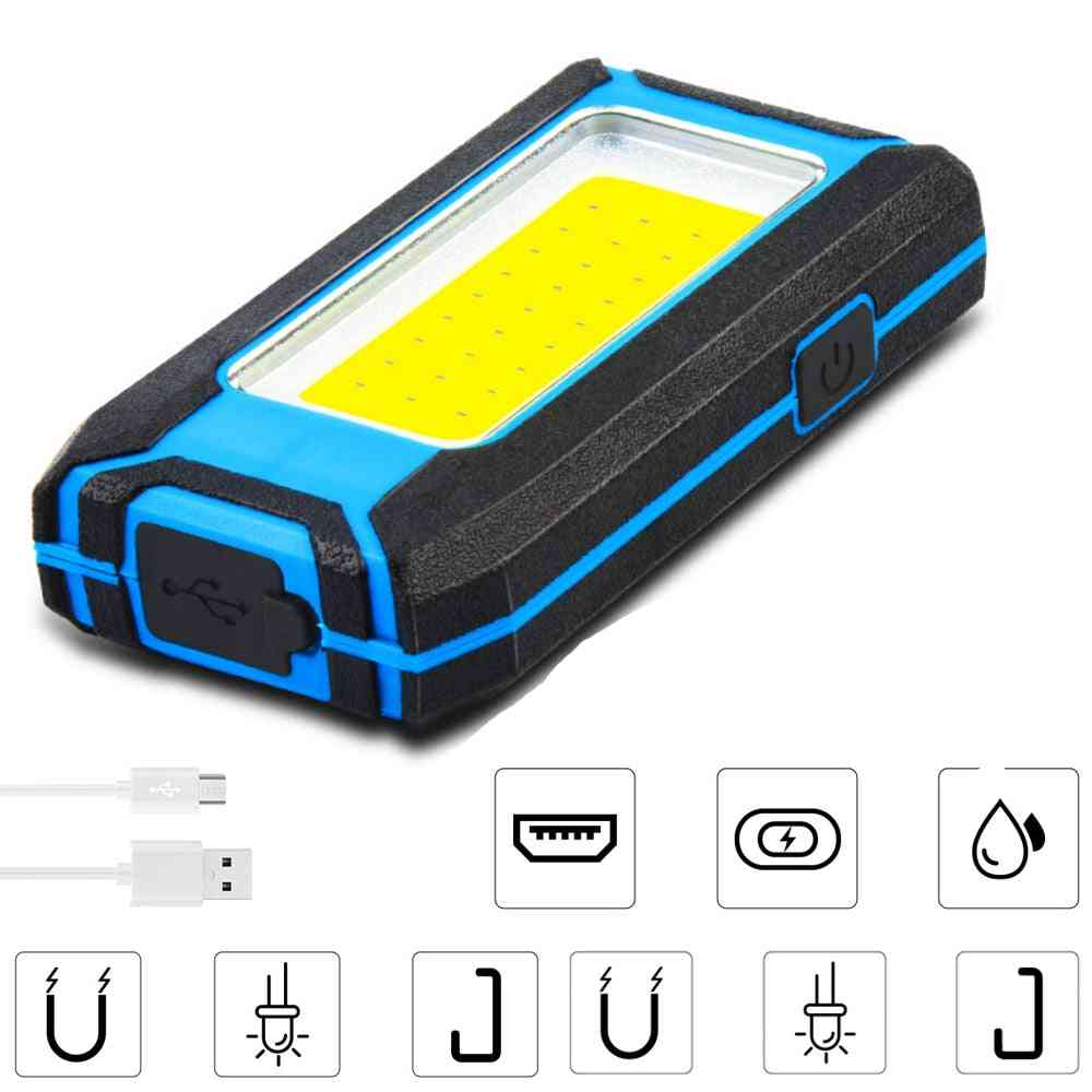 Powerful Cob, Led Flashlight Torch, Usb Rechargeable Lamp