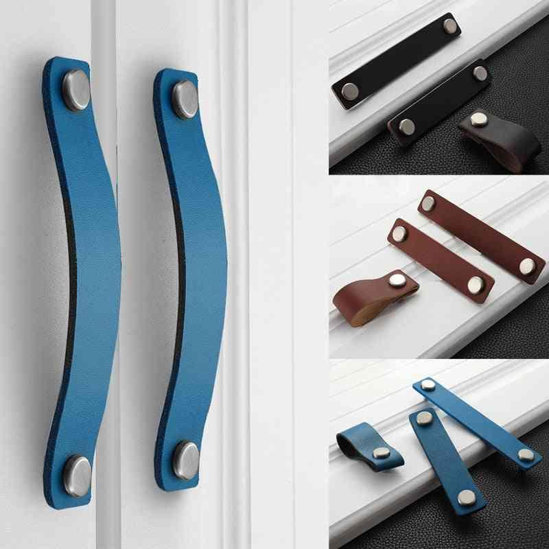 Handmade Leather Pull Handle, Europe Style Soft Minimalist Door Cupboard