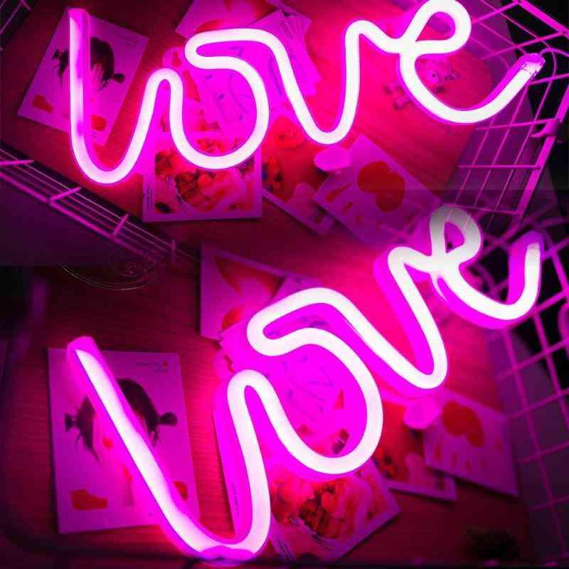 Romantic Love Letters Led Night Light - Usb Charging