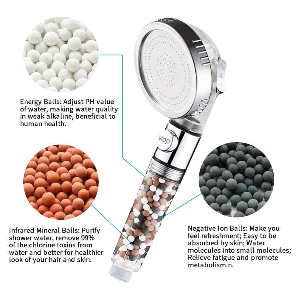Bathroom 3-function Spa Shower Head With Switch On/off Button High Pressure Anion Filter