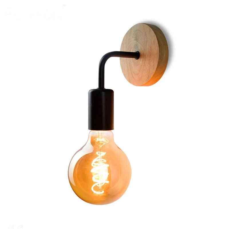 Vintage Wooden Wall Lamps - Indoor Bedside Decoration