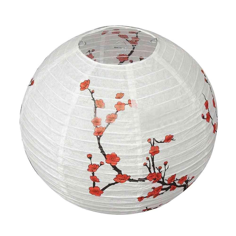 14'' Lamp Shade-plum Blossom Printed, Paper Lantern For Decoration