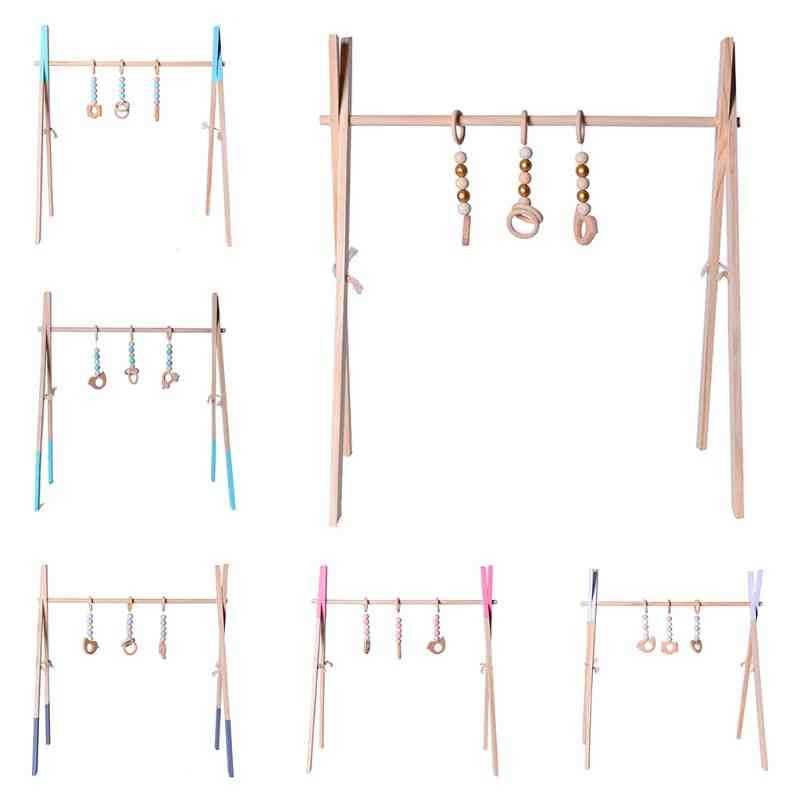 Nordic Style Wooden Baby Fitness Rack For  Room- Decoration Toy