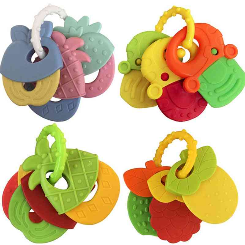 Baby Fruit Style Soft Rubber Rattle Teether Toy- Newborn Chews Food Grade Silicone, Infant Training Bed Chew Kid
