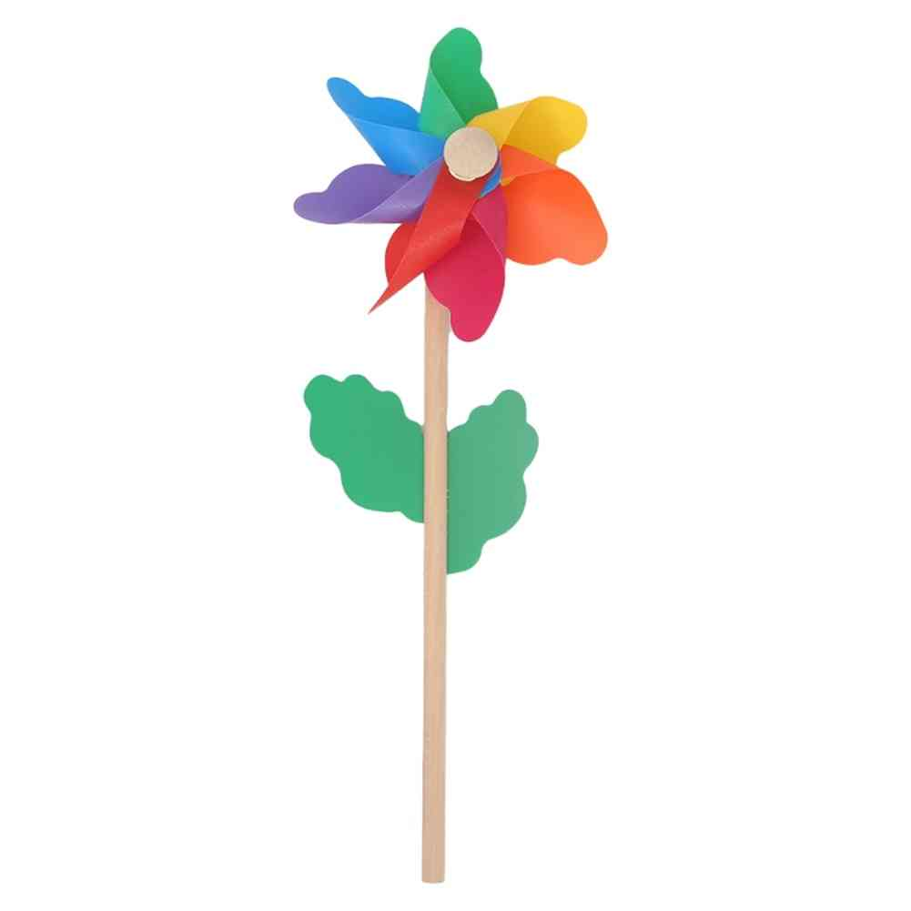 Wind Spinner Simple Pinwheel, Wooden Pole For Garden Decoration