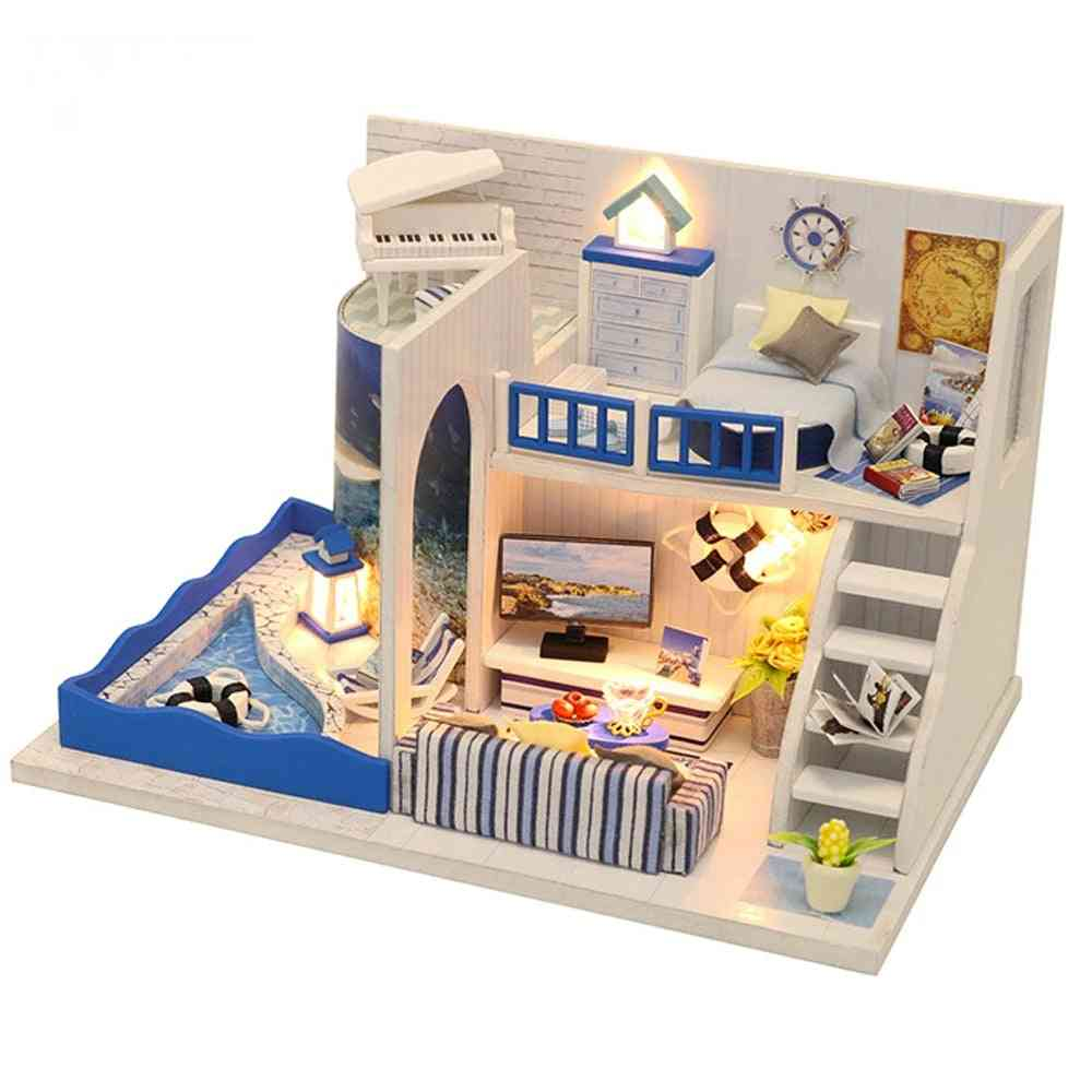 Miniature Roombox Diy Dollhouse With Furnitures -wooden House