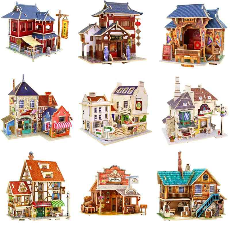 Wooden Miniature Global Style House Assemble Model Building Kits Toy For