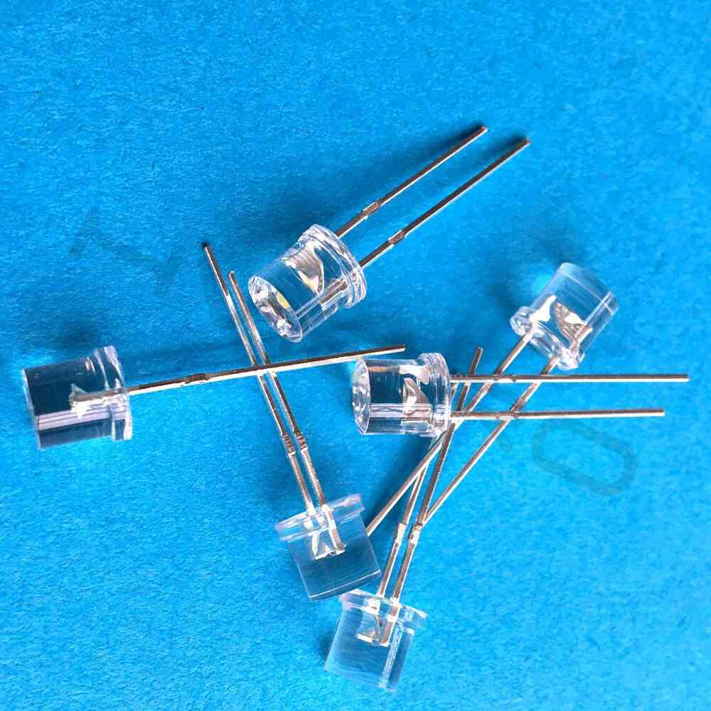 100pcs Of 5mm Flat Top With Wide Angle Light Lamp
