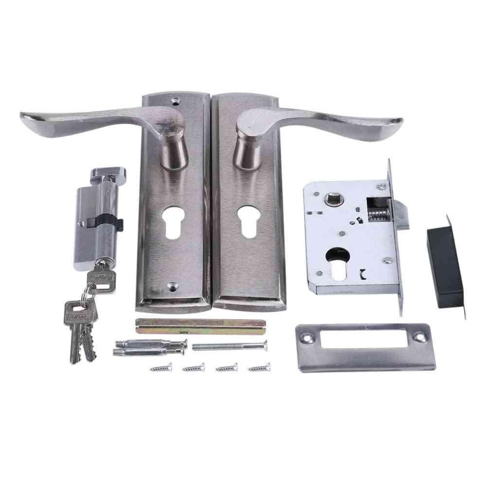 Silver Durable Door Handle Lock- Cylinder Front Lever Latch