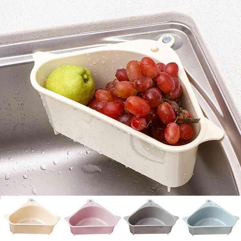 Triangular Drain Shelf - Sink With Dense Hollows & Suction Cup