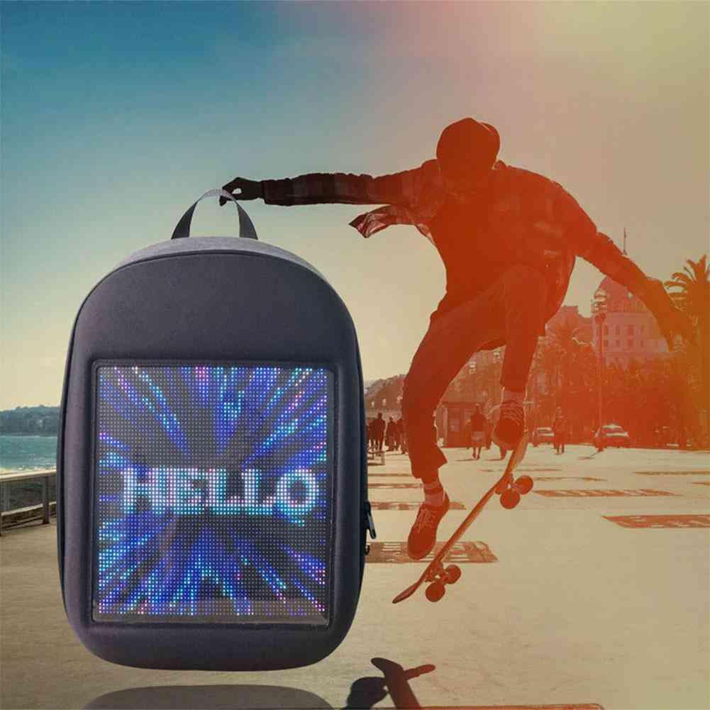 Diy Led Dynamic Display Screen Luminous Backpack