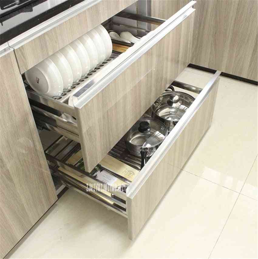 201/304 Stainless Steel, Double-deck- Pull-out Basket/drawer For Kitchen Cabinet