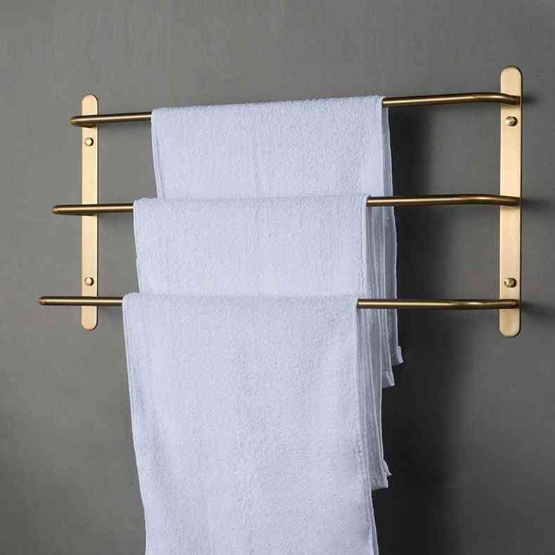 Gold Towel Rack Stainless Steel Adhesive Holder
