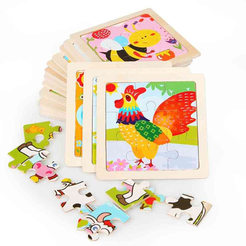 Intelligence Kids Wooden 3d Puzzle Jigsaw Tangram For Baby Cartoon Animal/traffic Puzzles Educational Learning